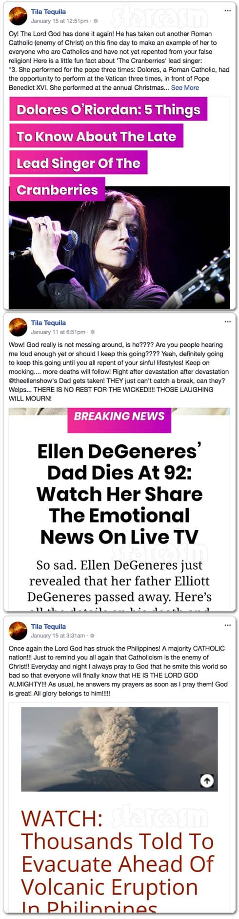 Tila Tequila Facebook posts about Dolores O'Riordan, Ellen Degeneres and Philippines volcano eruption