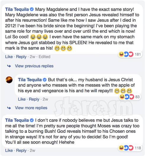 Tila Tequila says she is married to Jesus