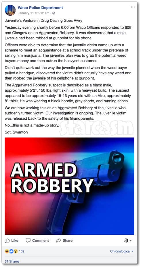 Waco teen robber robbed by pot buyer in fake drug deal gone bad