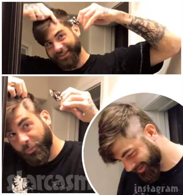 David Eason shaves his head