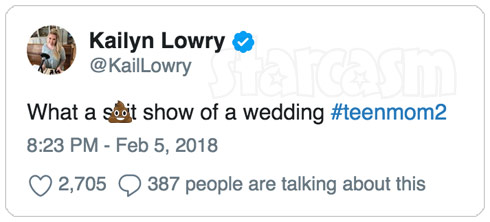 Kail Lowry Jenelle's wedding tweet