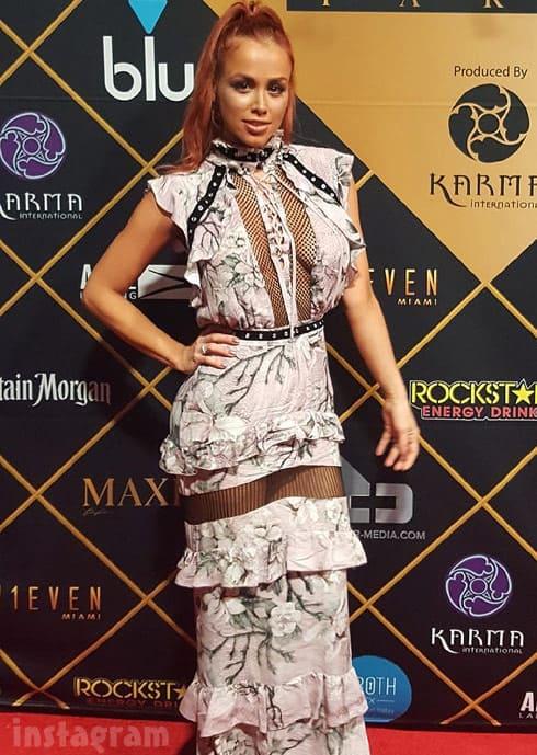 Paola Mayfield Maxim Super Bowl party Robert Cavalli dress