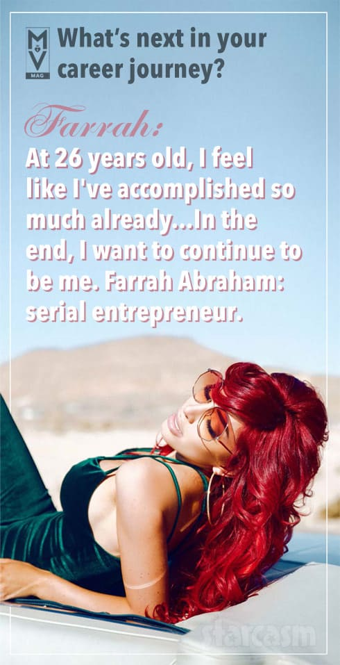 Farrah Abraham serial entrepreneur quote from ManyVids MV Mag interview and cover story
