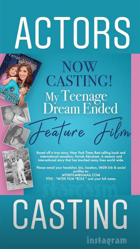 Farrah Abraham My Teenage_Dream Ended movie casting call