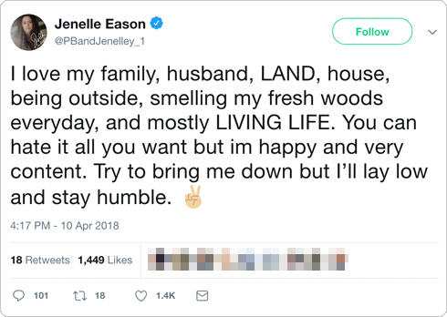Jenelle Evans The Land tweet