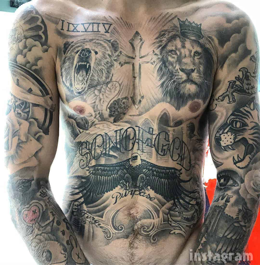 Justin Bieber tattoos chest