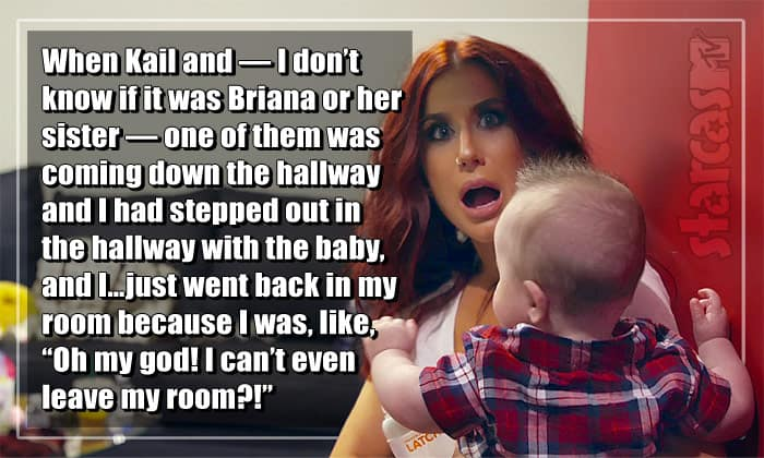 Chelsea Houska DeBoer holding son Watson backstage at the Teen Mom 2 Reunion scared