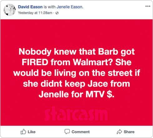 David Eason Facebook post about Barbara Evans Walmart retirement and MTV money