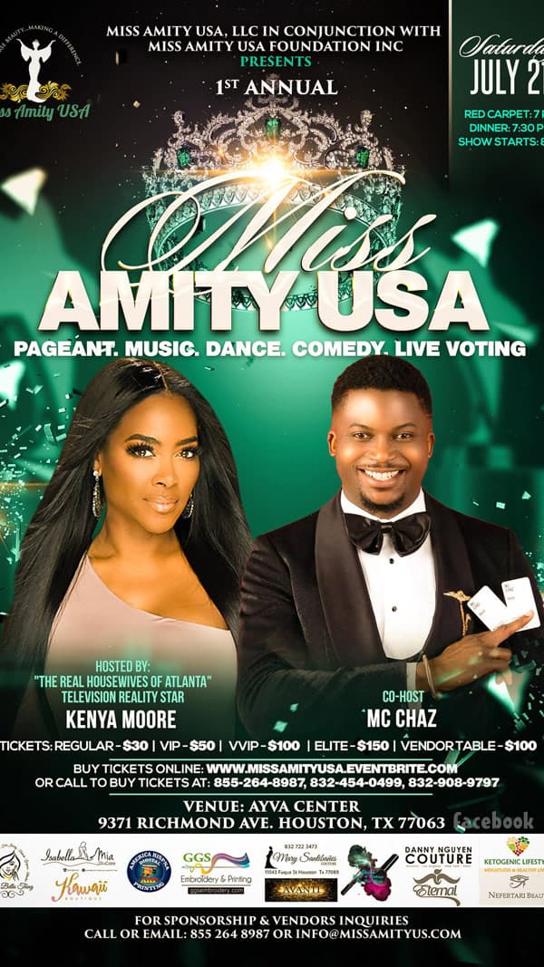 Kenya Moore hosting Miss Amity USA Pageant flyer 2018