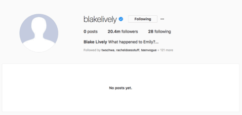 why did blake lively delete her instagram?