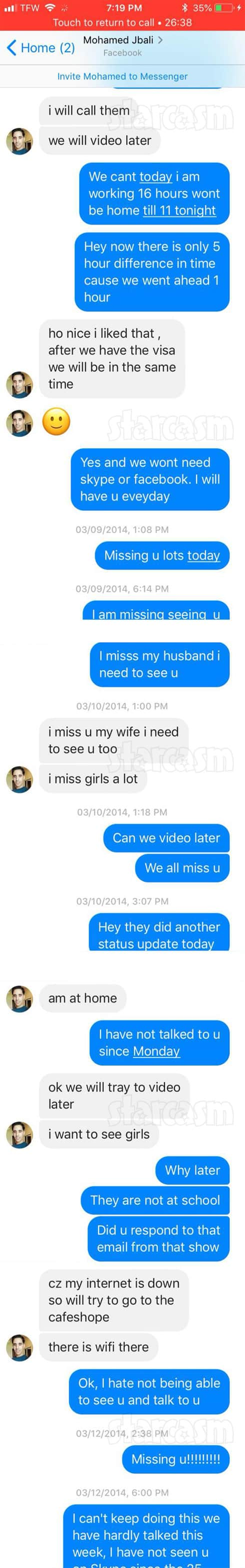 90 Day FIance Danielle and Mohamed Jbali Facebook messages