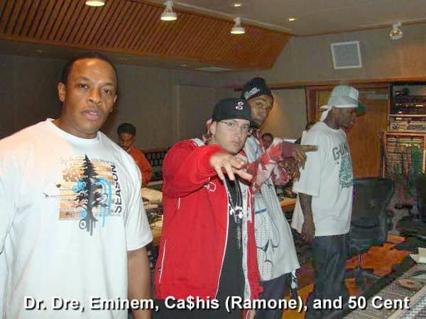Dr. Dre Eminem Cashis and 50 Cent together