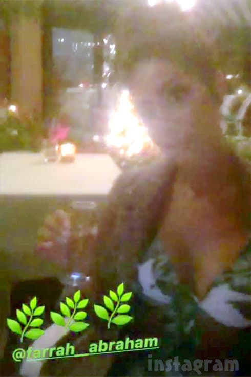 Farrah Abraham drinking at The Beverly Hills Hotel