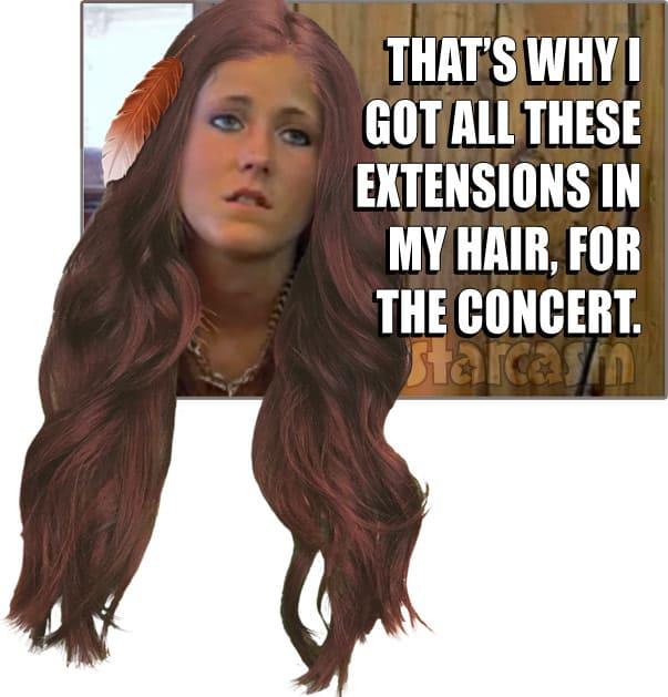 Jenelle Evans feathers hair Kesha concert meme extensions