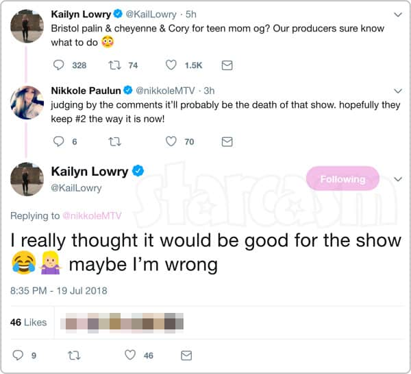 Kail Lowry and Nikkole Paulun tweet about Bristol Palin joining Teen Mom OG