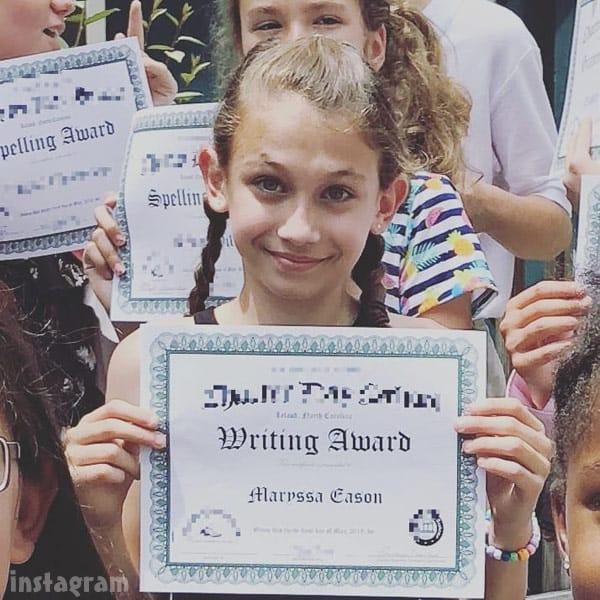 David Eason's daughter Maryssa writing award