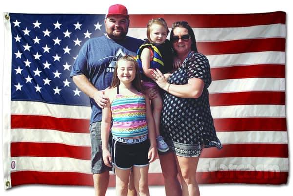 Teen Mom Kristina and Gary Shirley family photo with American Flag