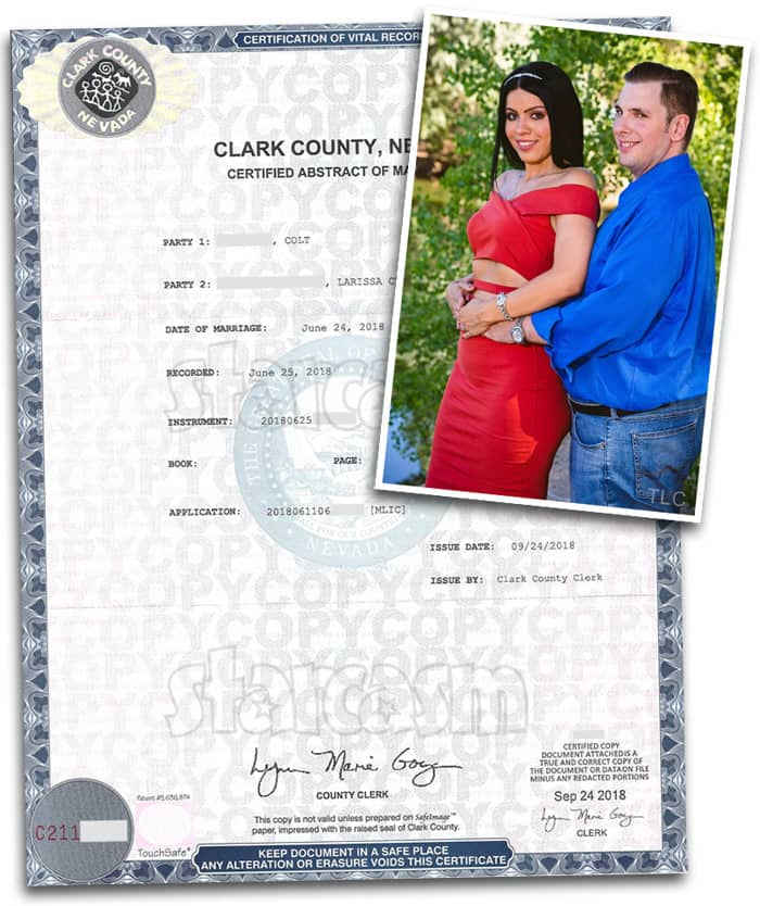 90 Day Fiance Colt and Larissa marriage certificate