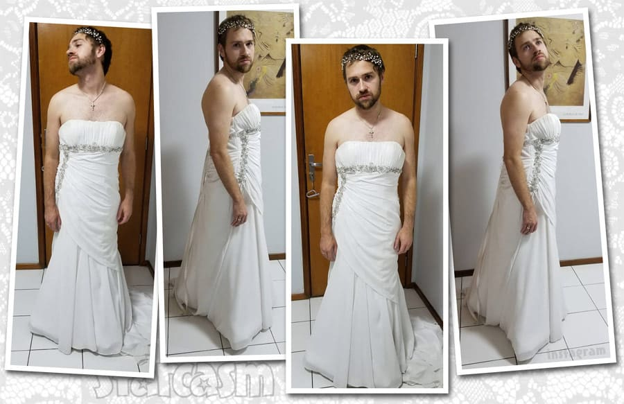 Before the 90 Days Paul wearing Karine's wedding dress