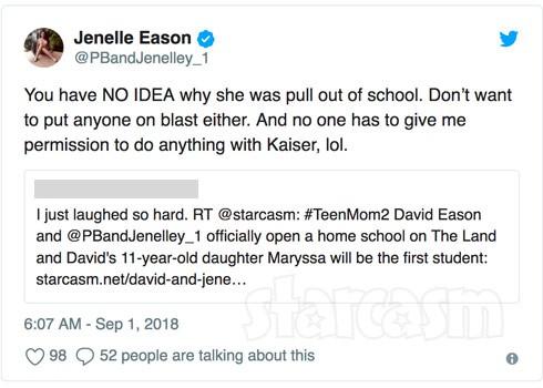 Jenelle Eason homeschool tweet