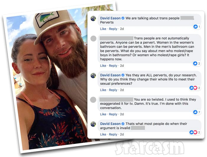 Teen Mom 2 Jenelle's husband David Eason transgender quotes on Facebook