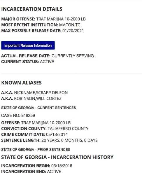 Scrapp DeLeon still in prison 2