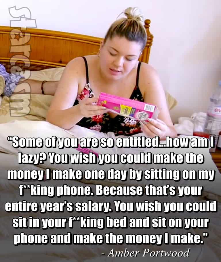 Teen Mom OG Amber Portwood in bed money quote