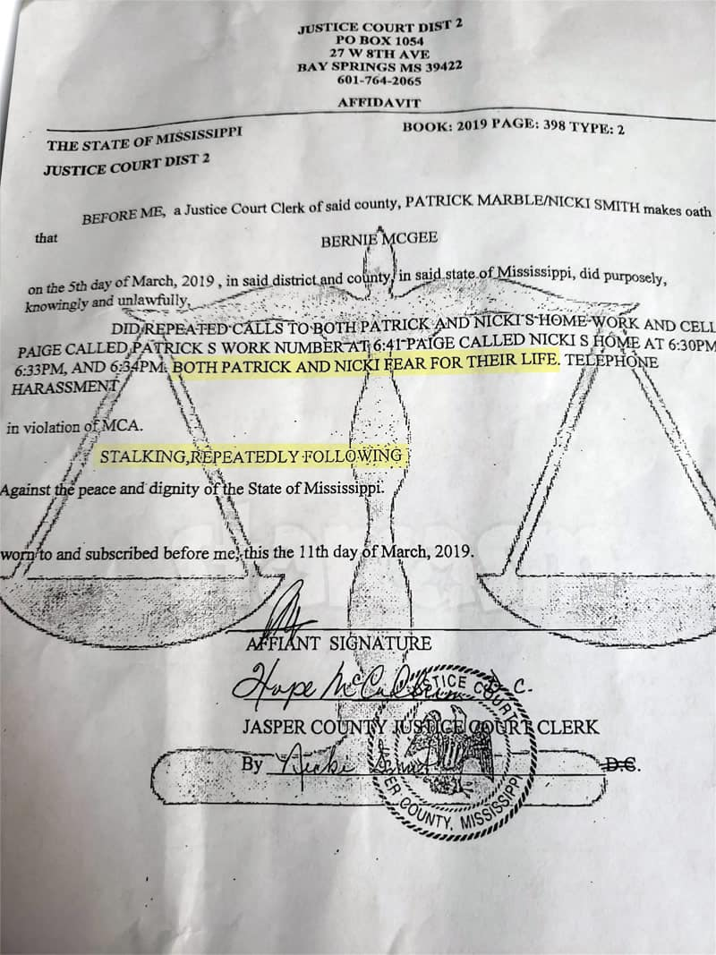 Seeking Sister Wife Bernie McGee and Paige McGee arrest update affidavit filed by brother Patrick Marble