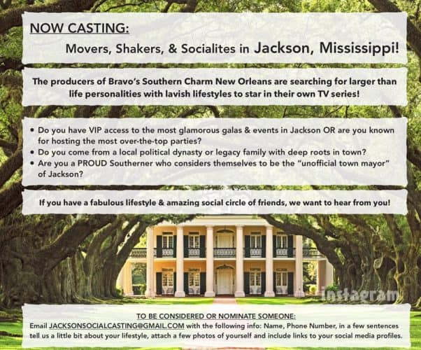 Bravo Southern Charm Jackson Mississippi casting call?