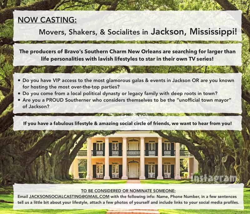 Bravo Southern Charm Jackson Mississippi casting call?