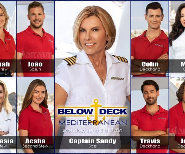 Below Deck Mediterranean Season 4 cast Captain Sandy, Hannah, João, Colin, Mila, Aesha, Anastasia, Travis, Jack