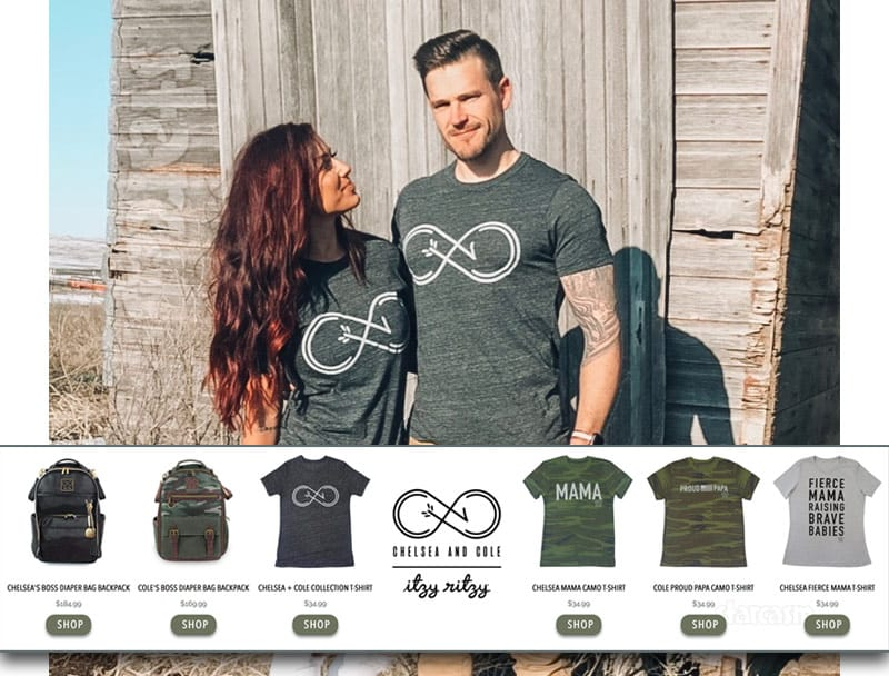 Teen Mom 2 Chelsea Houska DeBoer and Cole DeBoer product and fashion line with Itzy ritzy