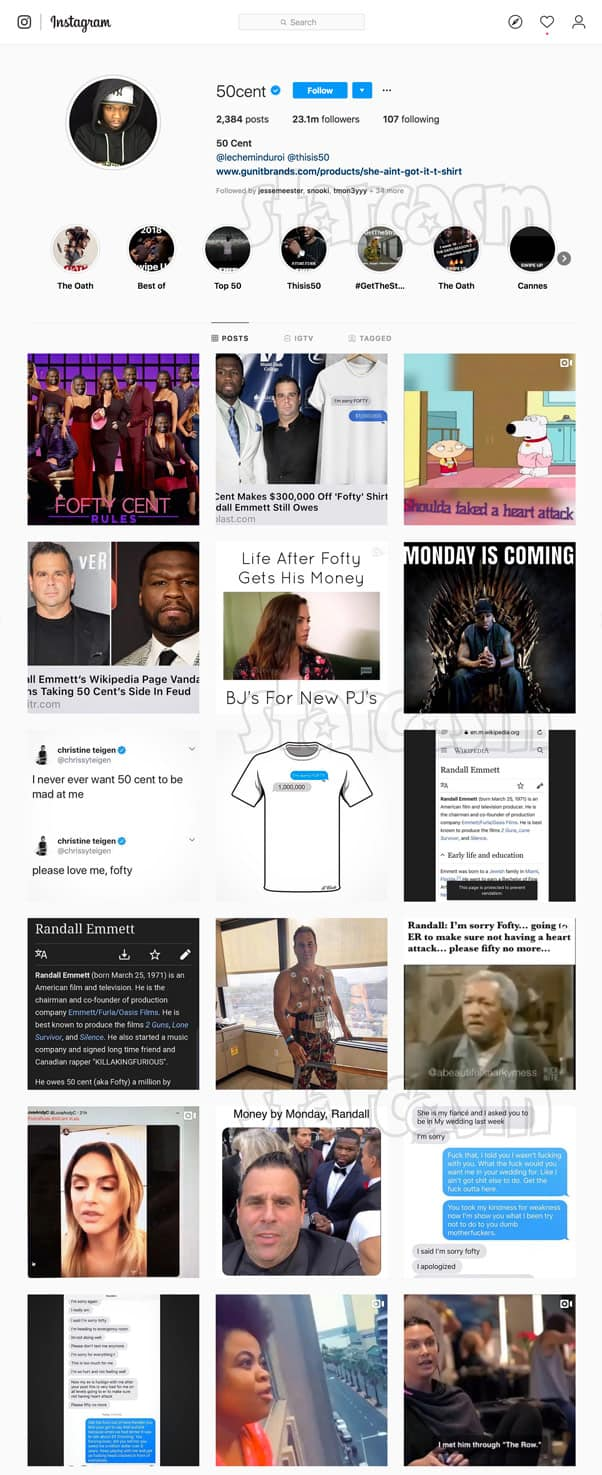 Fifty Cent fofty Instagram posts, deleted after feud with Lala Kent and Randall Emmett