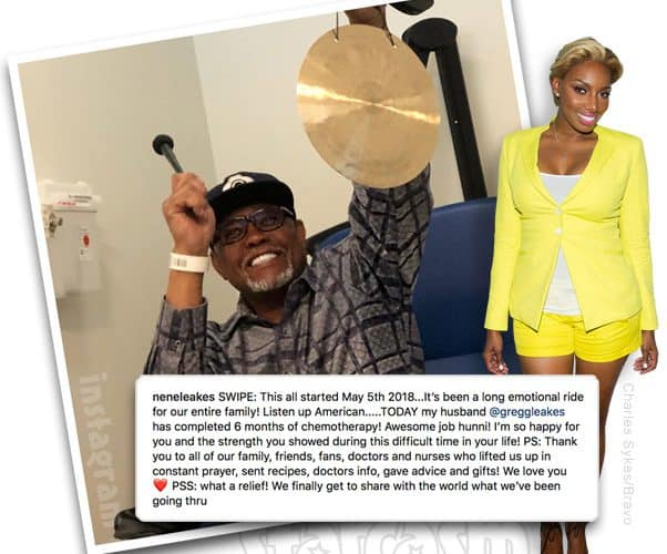 Real Housewives of Atlanta NeNe Leakes husband Gregg Leakes completes cancer chemotherapy treatment