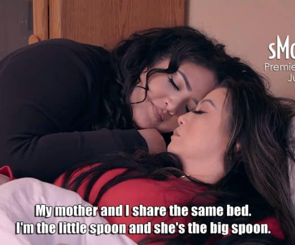 Mother Angelica and daughter Sunhe from reality show sMothered on TLC sleep in the same bed and spoon