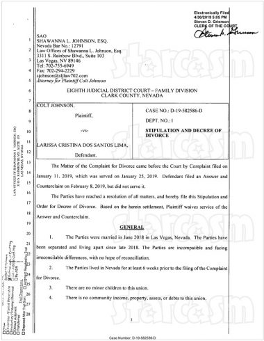 Colt and Larissa final divorce documents page 1