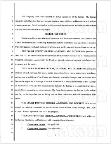 Colt and Larissa final divorce documents page 4