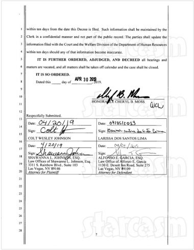 Colt and Larissa final divorce documents page 7