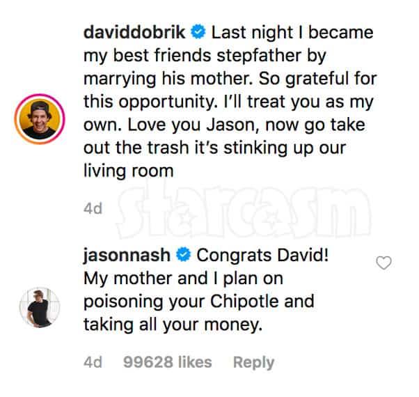 Jason Nash responds to David Dobrik marrying his mom Lorraine Nash