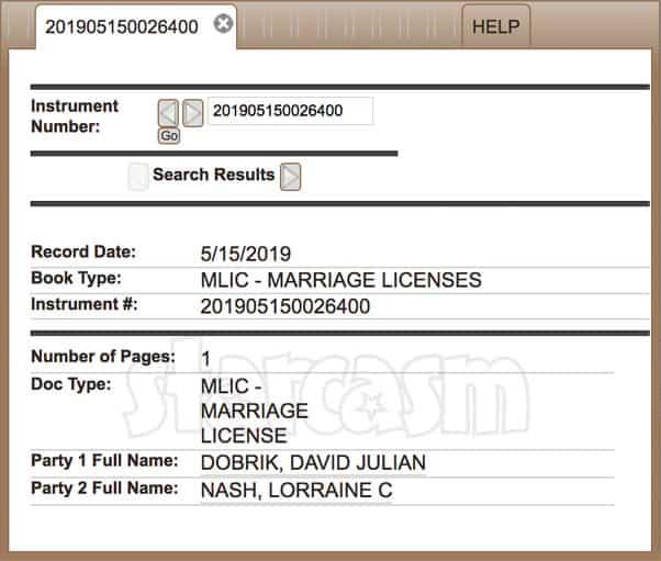 David Dobrik Lorraine Nash marriage license proof