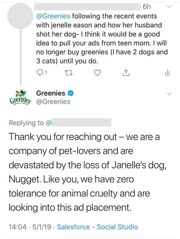 Greenies_Jenelle Eason dog shooting, MTV advertiser Greenies responds