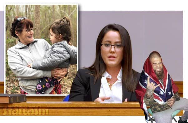 Jenelle Evans testifying in court with Barbara Evans Ensley and David Eason