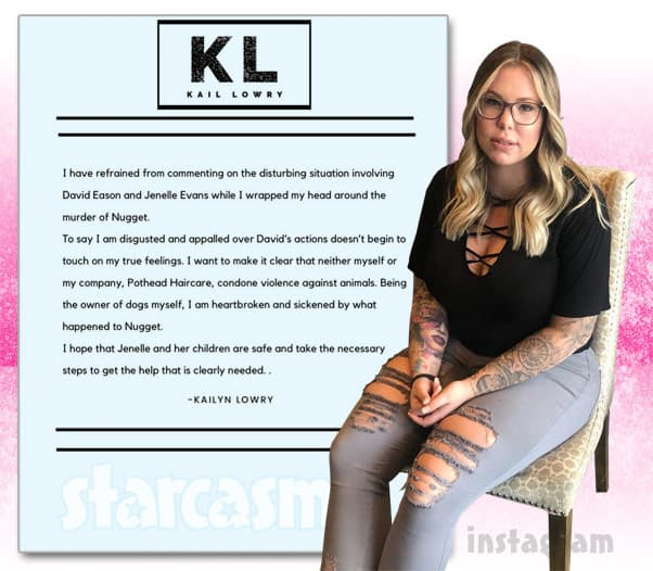 Teen Mom 2 Kail Lowry responds to David Eason shooting and killing Jenelle's French bulldog Nugget
