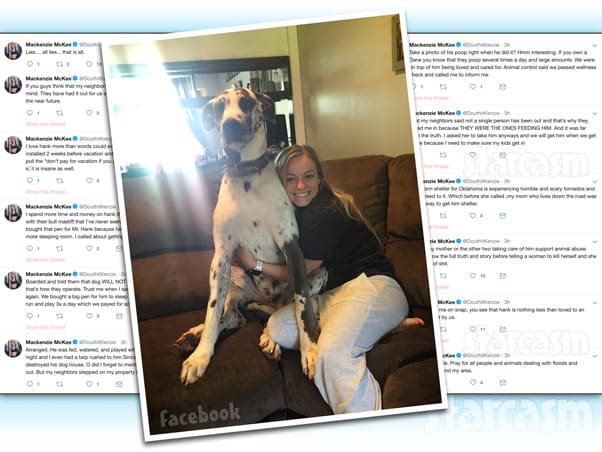 Teen Mom Mackenzie McKee says Great Dane Hank Williams was being taken care of while she and Josh were on vacation in the Bahamas