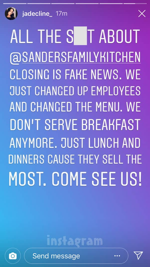 Jade Cline's family's restaurant is still open