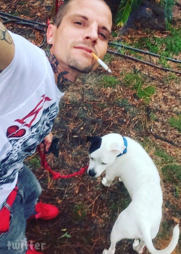 Courtland Rogers pit bull cigarette selfie