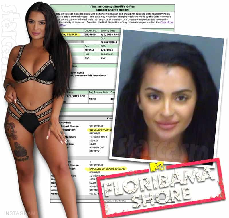 Floribama Shore Nilsa Prowant aka Nilsa Anderson arrested for flashing her boobs