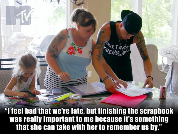 Teen Mom Og Catelynn and tyler Baltierra finish up a scrapbook and are late to their last meeting with daughter Carly