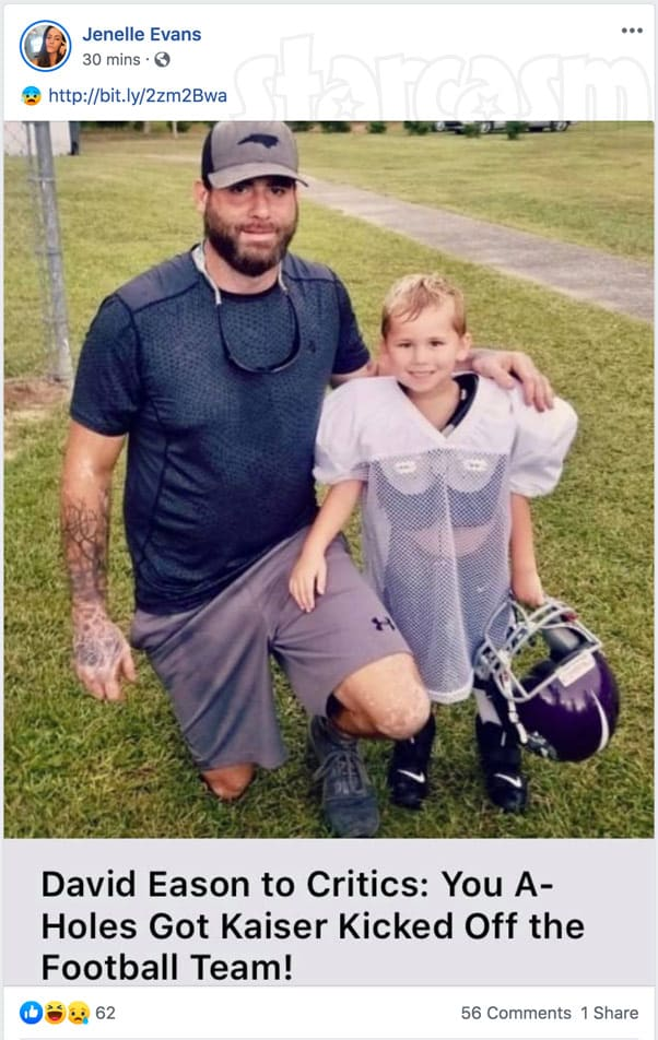 Teen Mom 2 Jenelle Eason shares article stating Kaiser was kicked off his football team