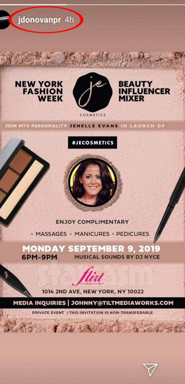 Teen Mom 2 Jenelle Eason JE Cosmetics launch party invitation posted by her manager Johnny Donovan
